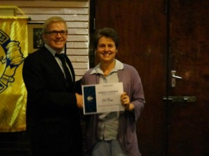 Julie 1st place in evaluations contest at greenside toastmasters